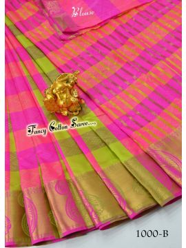 NILA - 1000-B    Pink With Green Color Fancy Cotton Saree CM486510