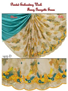 SIL SILLA -  1425-D   Tan With Yellow Color Fancy Georgette  Saree CM509947