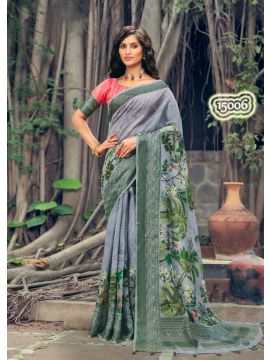 SWEETY -  15006     Gray  Color  Fancy Cotton  Saree CM492763