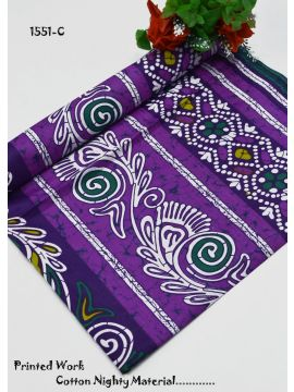 Swathika - 1551-C   Violet Color Cotton Nighty Material CM485443