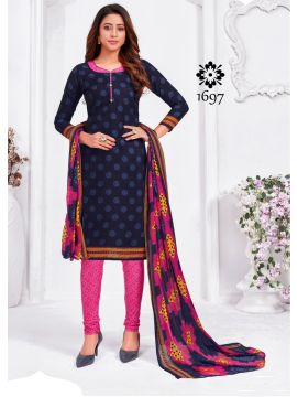 HOT LINE -  1697    Navy Blue Color Synthetic Salwar Material CM508055