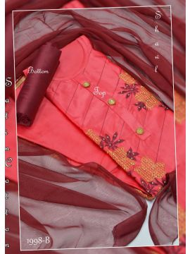 Red Color Cotton Salwar Material