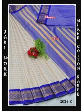 Keerthana  - 2034-C    White with Blue Color Mixed Cotton Saree CM495379