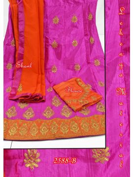 PINK  COLOR MIXED COTTON LEHENGA MATERIAL