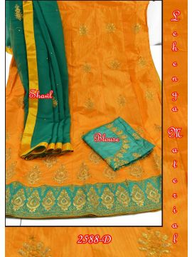 RED  COLOR MIXED COTTON LEHENGA MATERIAL