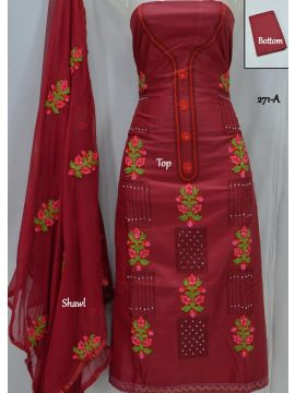 Green Chillies - 271-A   Maroon Color Mixed Cotton Salwar Material CM501271