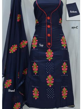 Green Chillies - 271-C   Navy Blue Color Mixed Cotton Salwar Material CM501271