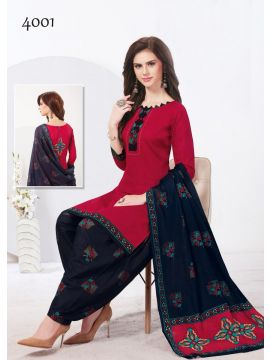 Nazakat Style - 4001    Red Color Cotton Salwar Material CM517013