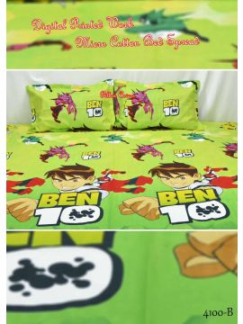 ORCHID - 4100-B  Green Color  Floral Print Cartoon 5D Micro Cotton Double Bed Spread with 2 Pillow Covers CM463543