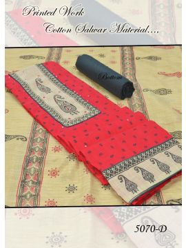 VITHYA -  5070-D      Red Color Cotton Salwar Material CM495955