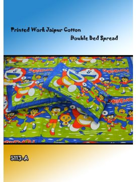 Toys - 5113-A   Green with Blue Color Jaipur Cotton Double Bed Spread with 2 Pillow Covers CM482651