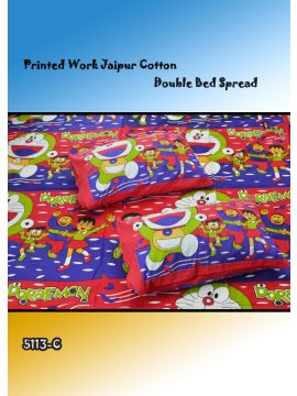 Toys - 5113-C   Red with Violet Color Jaipur Cotton Double Bed Spread with 2 Pillow Covers CM482651