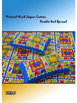 Toys - 5113-D   Blue Color Jaipur Cotton Double Bed Spread with 2 Pillow Covers CM482651