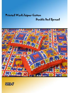 Toys - 5113-F   Orange Color Jaipur Cotton Double Bed Spread with 2 Pillow Covers CM482651