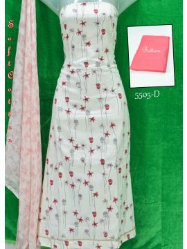SAMIRA -  5505-D    White With Pink Color Soft Pure Cotton Salwar Material CM501318