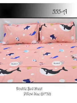 Dolphin -  555-A    Pink  Color Polyester 3d HD impression Double Bed Spread  & 2 Pillow Covers CM483259