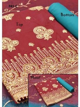 Sudha - 741-C     Red Color Pure Cotton Salwar Material CM495325