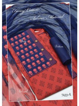 MADHULEKHA -  7433-A    Red Color Cotton Salwar Material CM517629