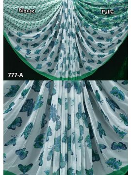 Royal - 777-A    White with Green Color Chiffon Saree CM498701