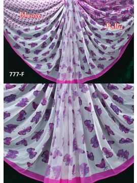 Royal - 777-F   White with Pink Color Chiffon Saree CM498701
