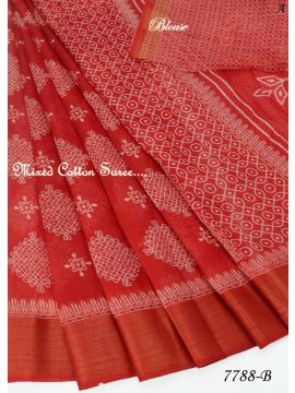 SMART  -  7788-B      Red   Color  Mixed  Cotton  Saree CM495691
